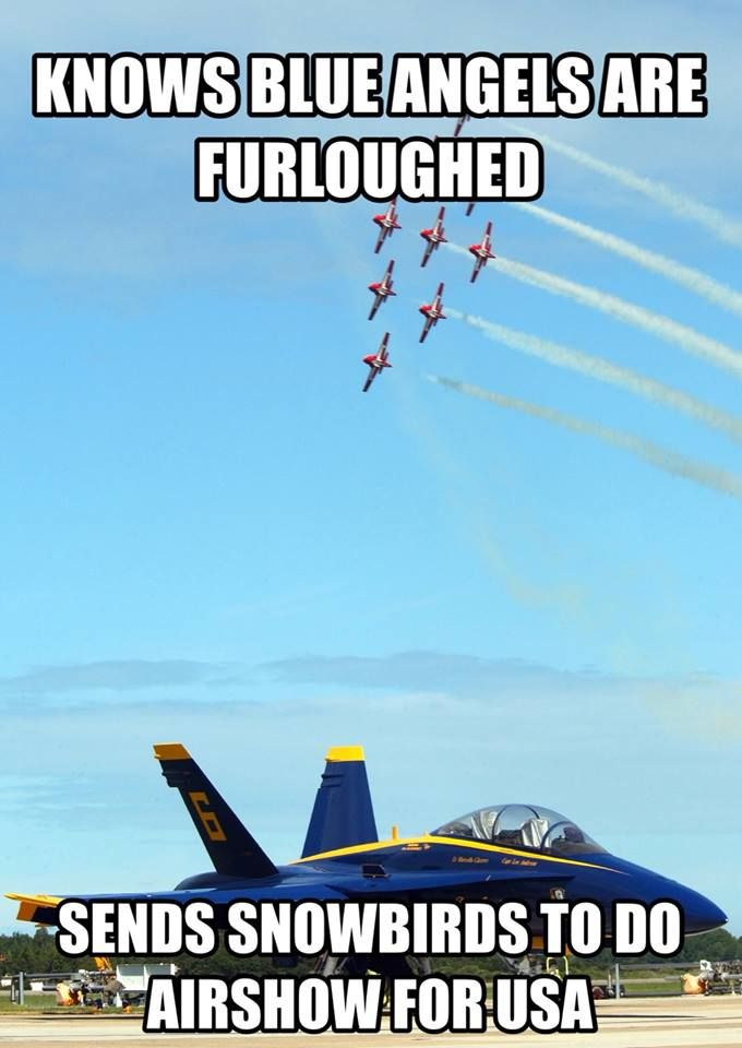 The U S Federal Shutdown Grounded The Blue Angels And Air Force Thunderbird Pilots From Performing So Our Awesome Cana Air Show Snowbird Blue Angels
