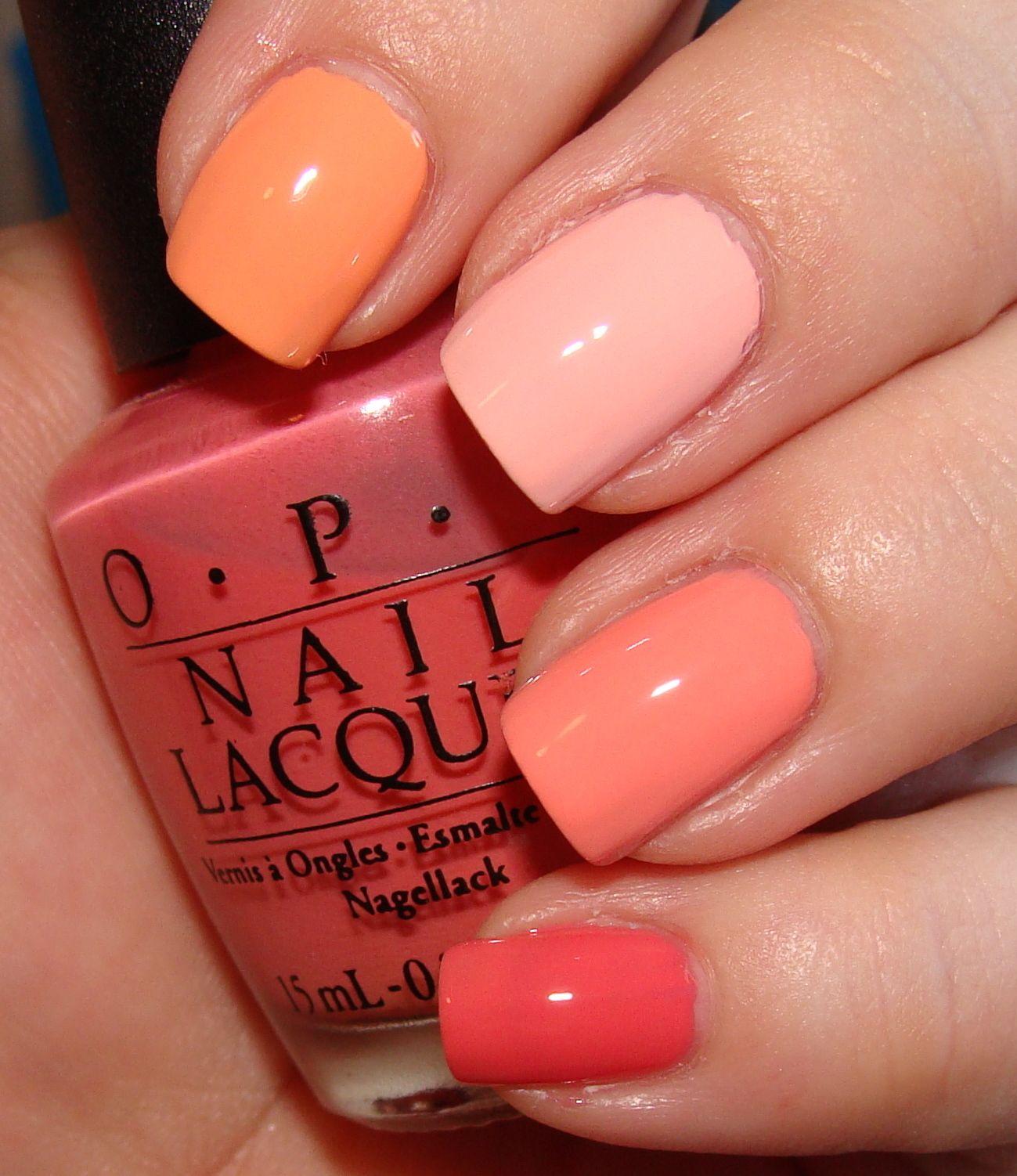 Essie Coral Peach, Essie Shop Til I Drop, OPI Peachaboo, Revlon ...
