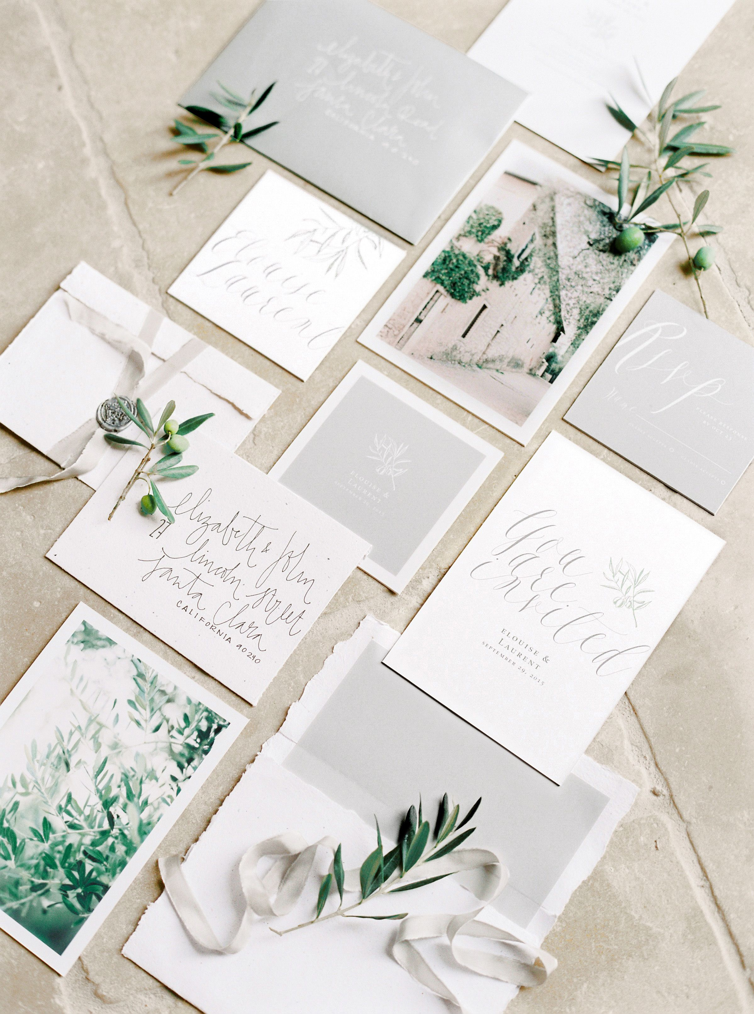 Fine Art Wedding Stationery Styled With Olive Tree Sprigs And Silk