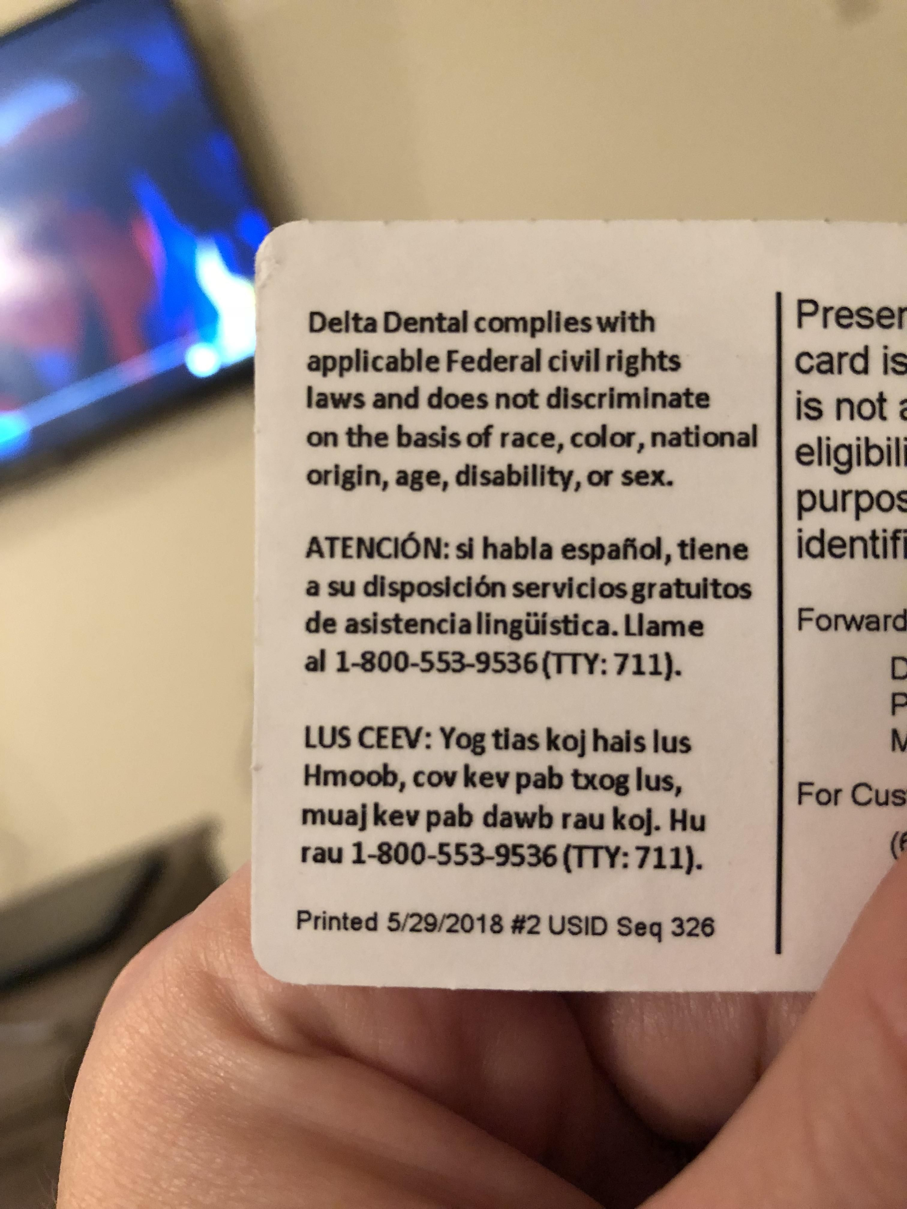 My Dental Insurance Card Has 3 Languages English Spanish And