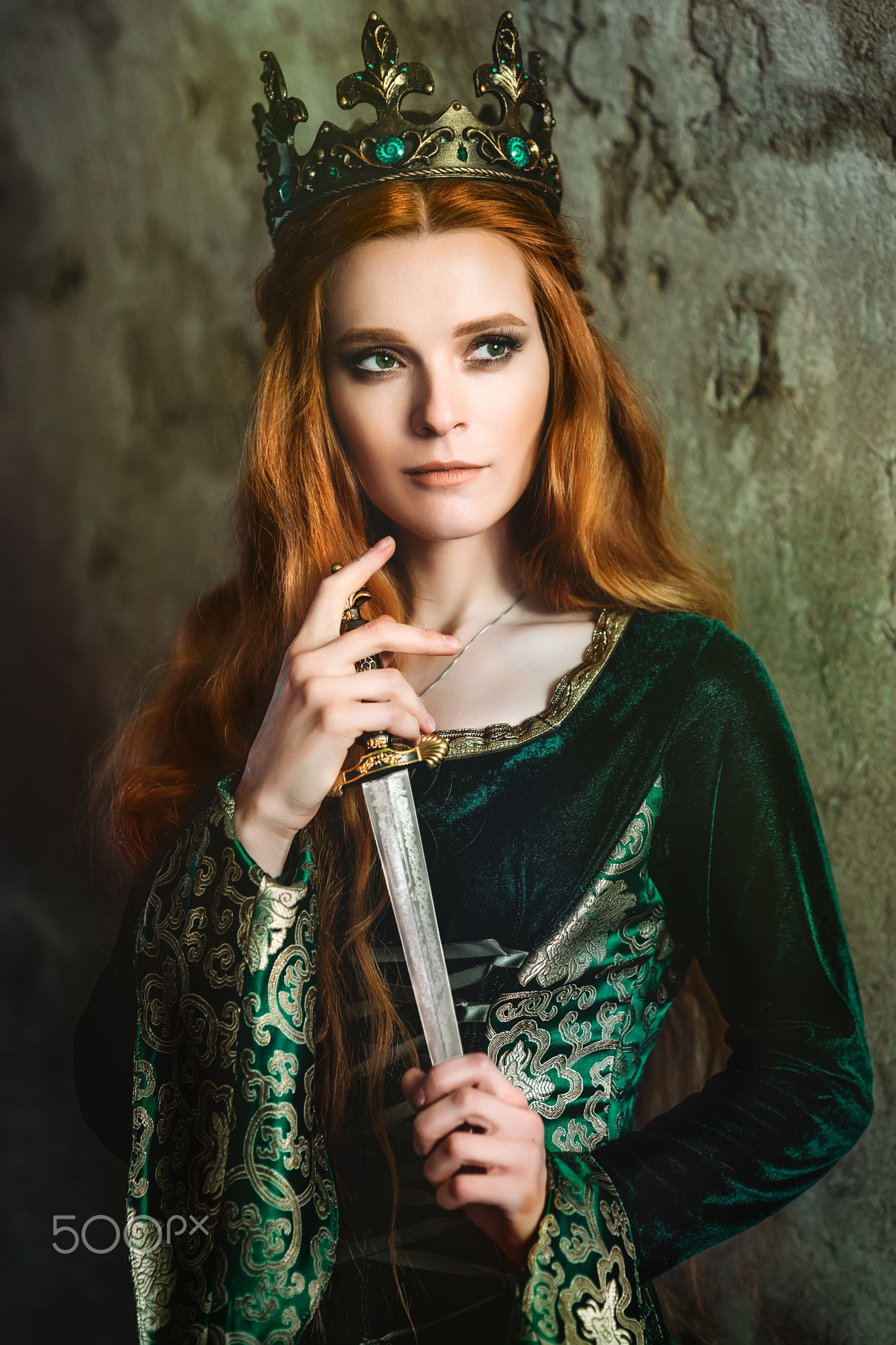Ginger Queen Near The Castle Red Haired Woman In A Green Medieval Dress Near The Castle Medieval Dress Women Red Hair
