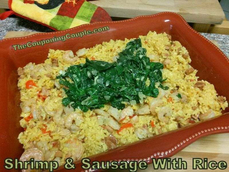 Looking for an easy one pot meal? Try this Shrimp and Sausage with Rice #Recipe! Spice it up or down with the hot sauce and sausage! Top with Sauteed Spinach.. or not! So many options!  Click the link below to get all of the details ► http://www.thecouponingcouple.com/shrimp-and-sausage-with-rice-recipe-an-easy-one-pot-dish/  #cooking #recipes