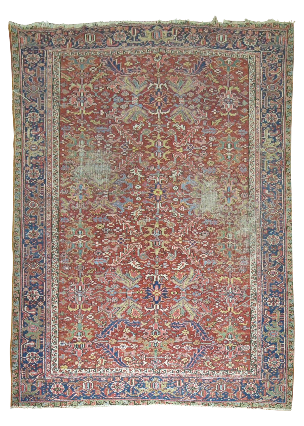 Distressed Persian Heriz Rug - 7'3'' X 10'6'' on Chairish.com