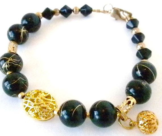 Elegant  Black and Gold Vein Beaded Bracelet by denises72 on Etsy, $14.99
