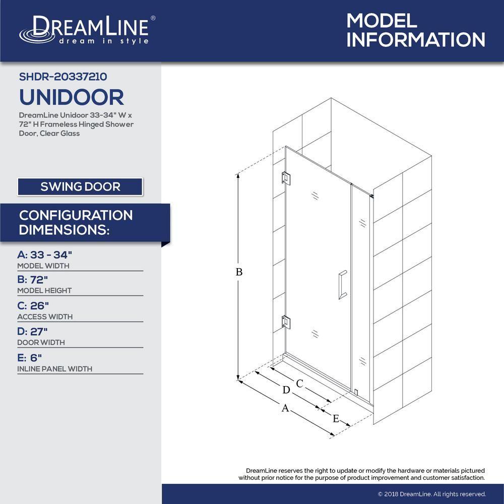Dreamline unidoor in x in frameless hinged pivot shower door