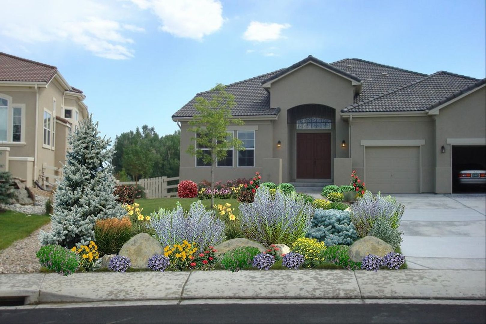 Amazing And Beautiful Large Yard Landscaping Design Ideas 400 x 300