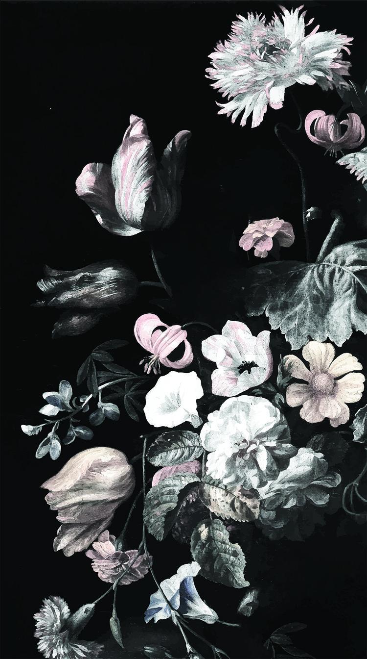 Still Life Floral Mural Dark Floral Mural Floral