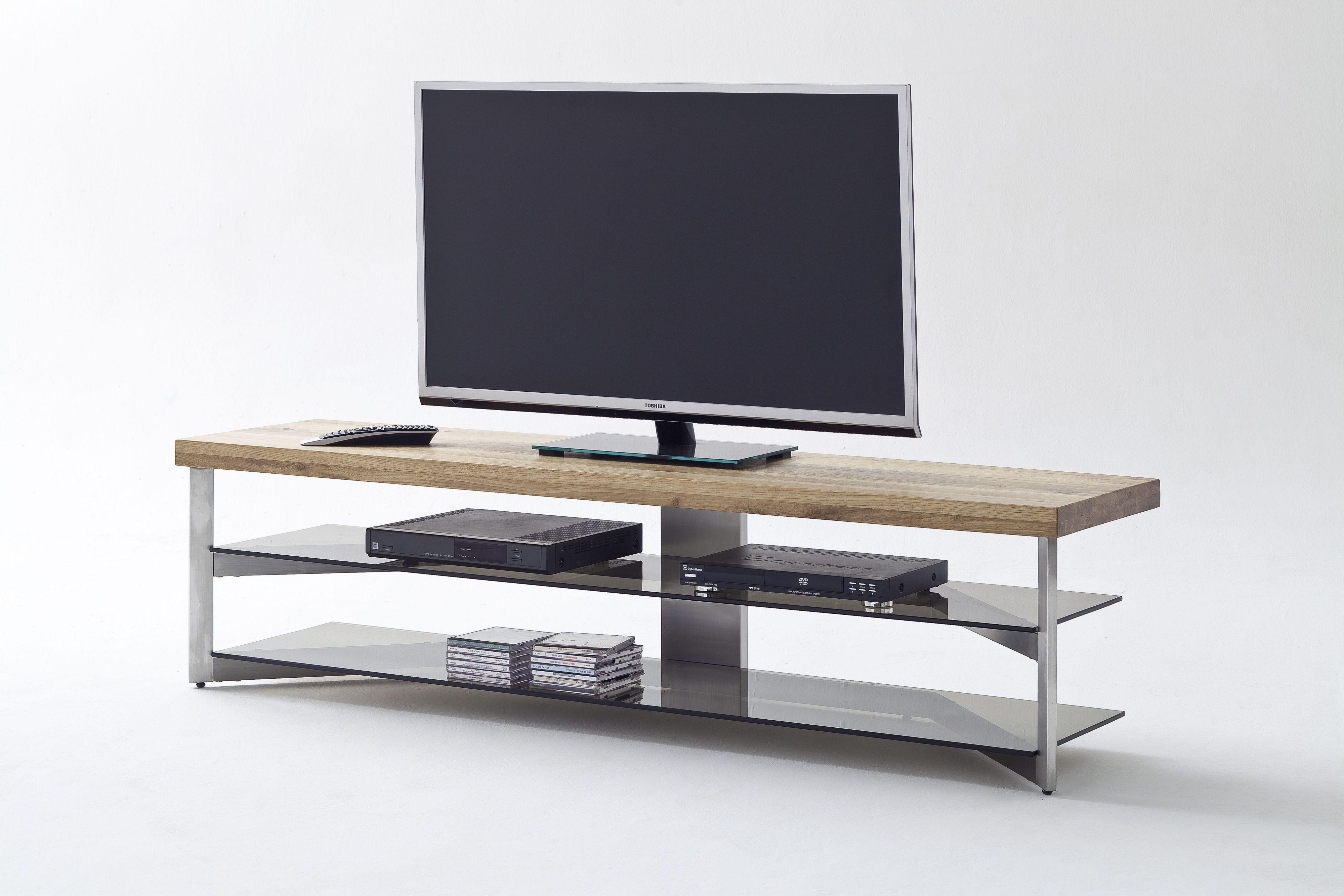 media tv rack 160 cm eiche massiv glas grau woody 41 02409 holz