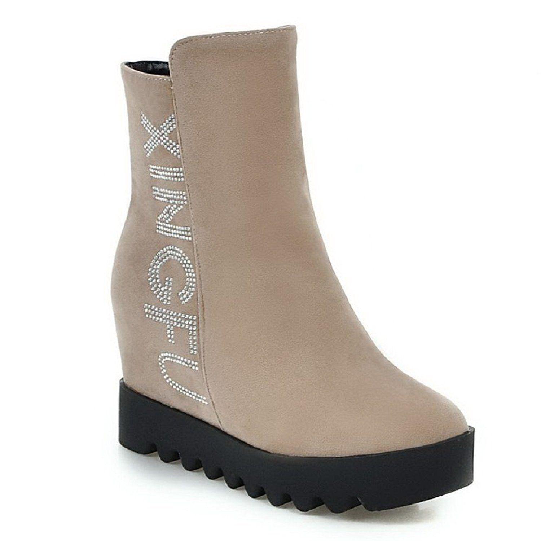 Women's Low-Heels Frosted Low-Top Solid Zipper Boots