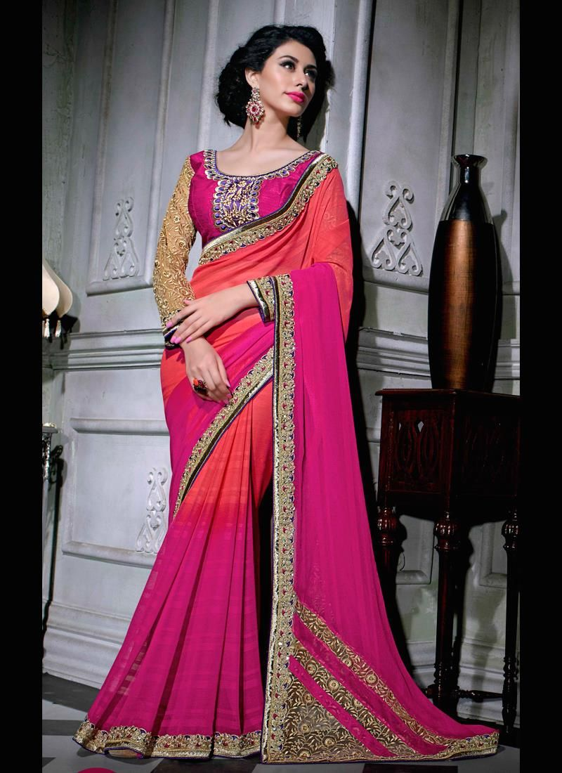 Compelling Embroidered Work Hot Pink Faux Chiffon Designer Saree ...