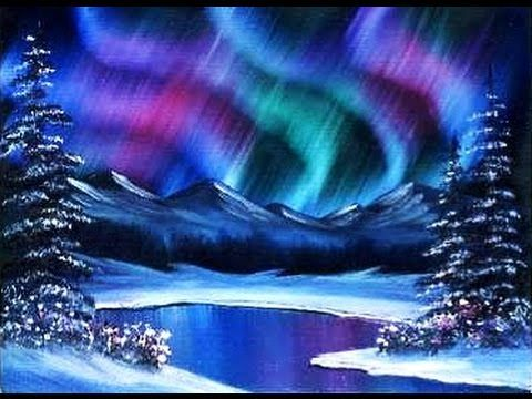 Beginners learn to paint acrylic aurora borealis for Watercolor scenes beginners