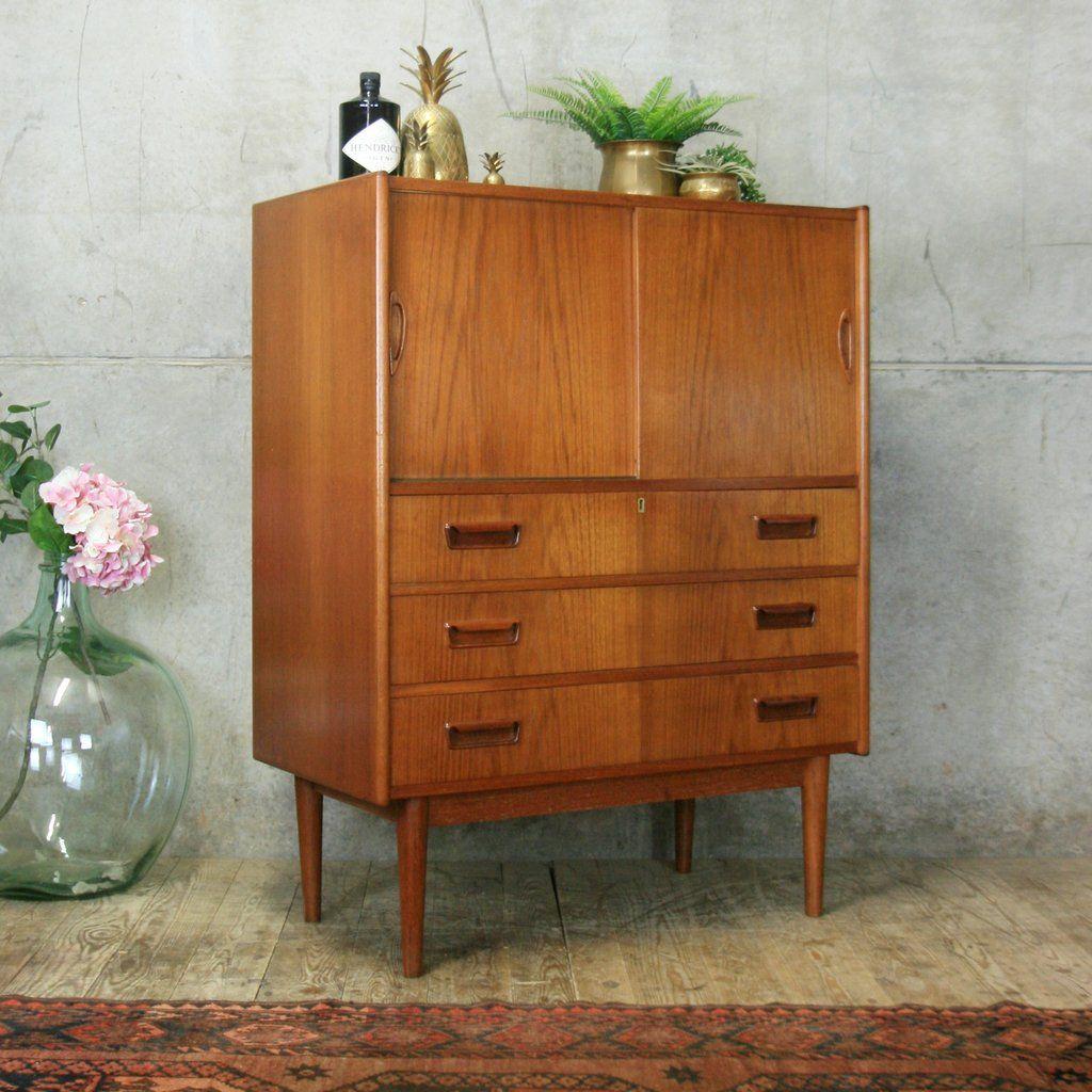Danish mid century tibergaard bureau drinks cabinet in