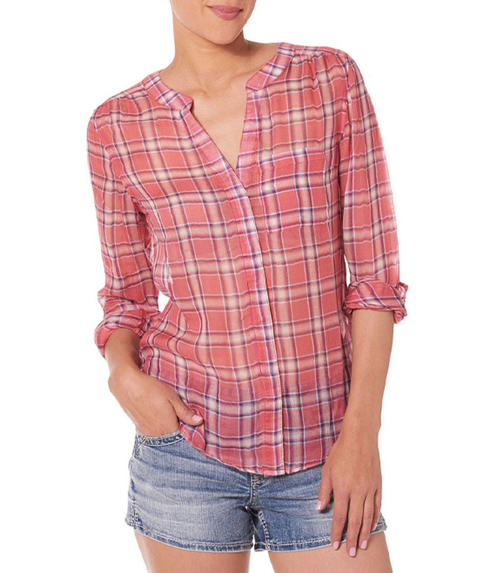 c199d1076 Silver Jeans Co. Coral Plaid Button-Front Top by Silver Jeans Co.  #zulilyfinds