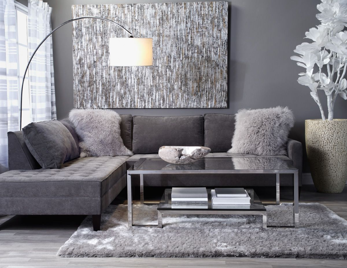 Create A Luxe Lounge With Contemporary Pieces In Grey Silver Hues Sectional Living RoomsGrey