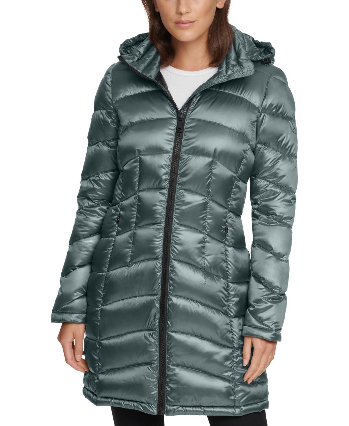 Calvin Klein Shine Hooded Packable Down Puffer Coat Created For Macy S Reviews Coats Women Macy S Down Puffer Coat Puffer Coat Coats For Women [ 1466 x 1200 Pixel ]