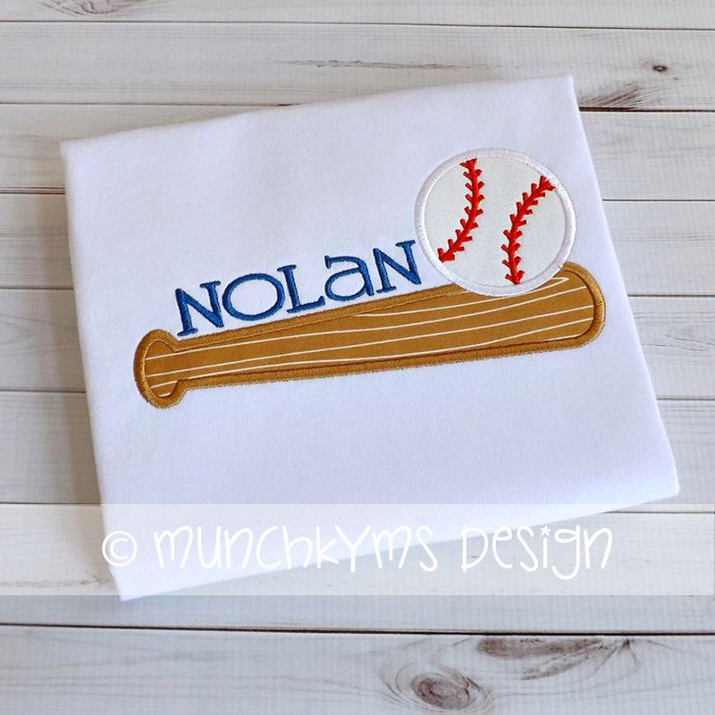 Baseball Bat And Ball Applique Machine Embroidery Designs Machine Embroidery Machine Embroidery Projects