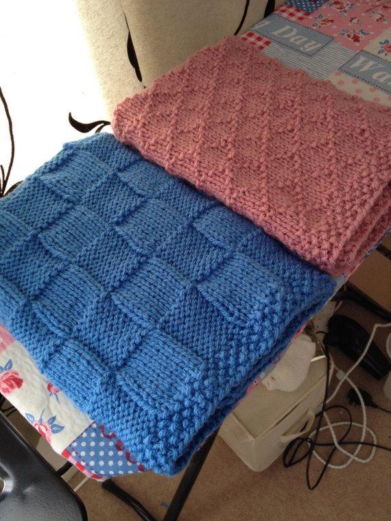Easy Baby Blanket Knitting Pattern Chunky Check Basketweave Pdf