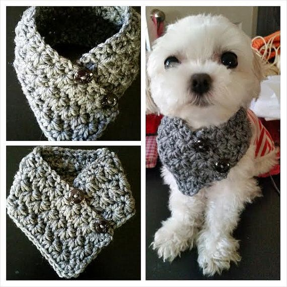 Small Dog Crocheted scarf Gray Colors fits most S by QuiltNCrochet ...
