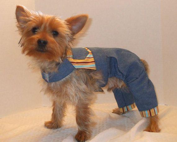 Dog Overalls, Denim and Yellow Stripe   Pinterest
