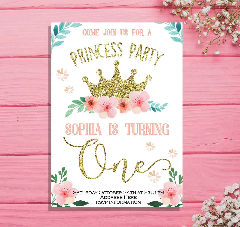 Princess Invitation, Princess Birthday Invitation, Gold