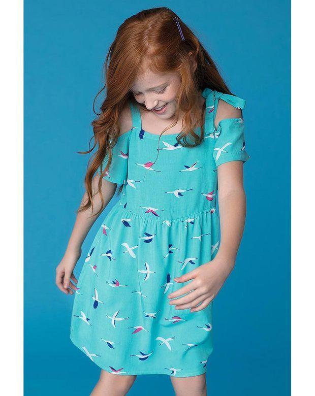 d5433285f1885b Vestido Infantil Menina Em Tecido De Viscose Com Amarração Na Alça ...