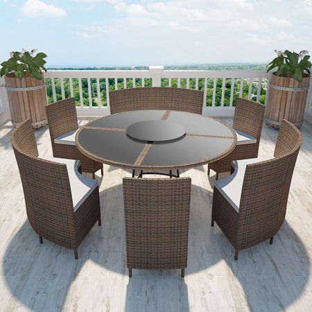 Home Round Patio Table Wicker Dining Set Round Table Chairs