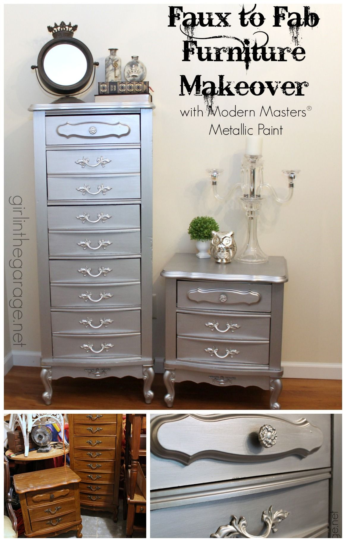 See How An 80 S Faux Wood French Provincial Style Furniture Set Was Glammed Up With Modern Masters Metallic Paint Inthegarage Bestofdiy