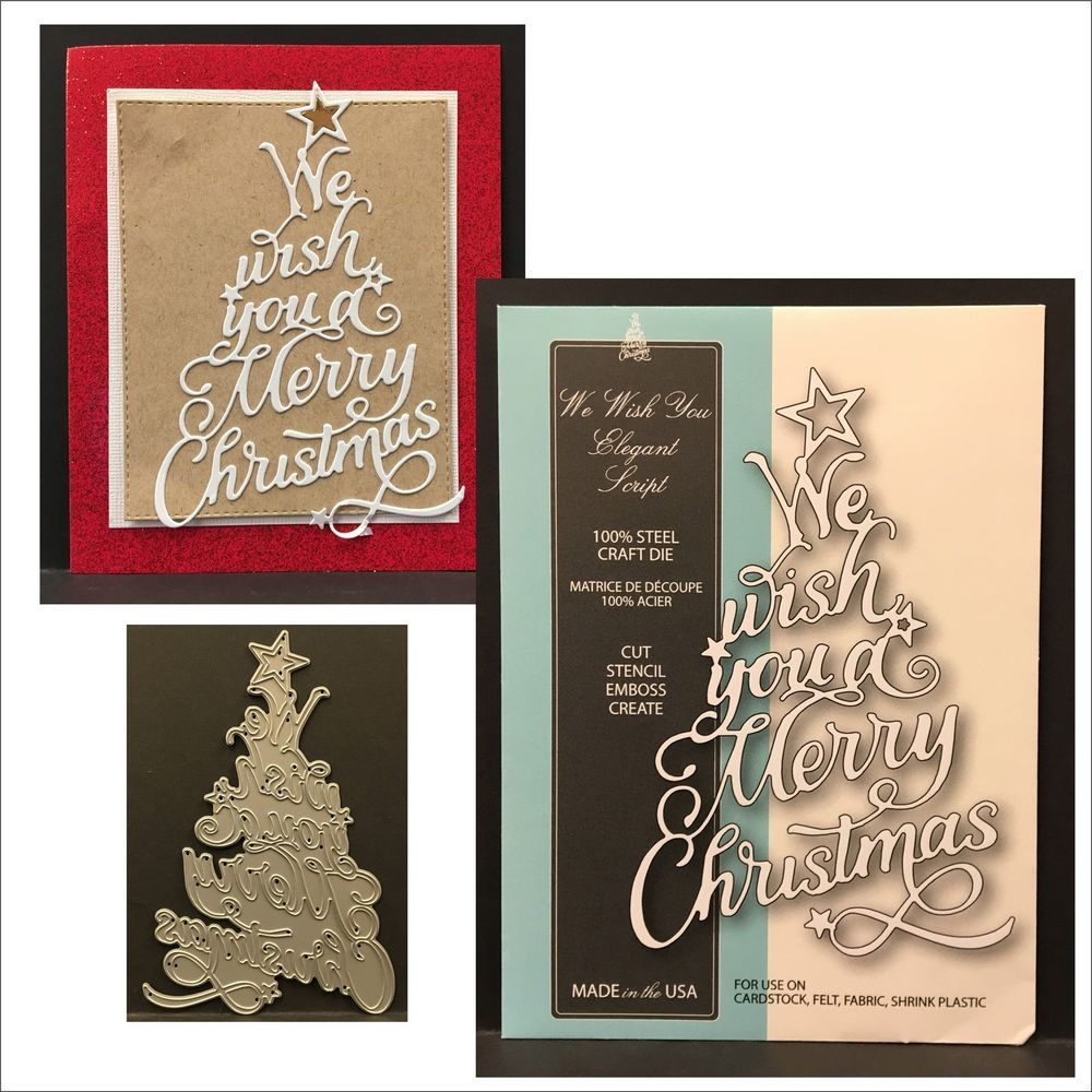 Christmas Tree Words We Wish You Elegant Script Metal Die Memory Box Dies 99555 Memory Box Embossed Business Cards Memory Box Dies