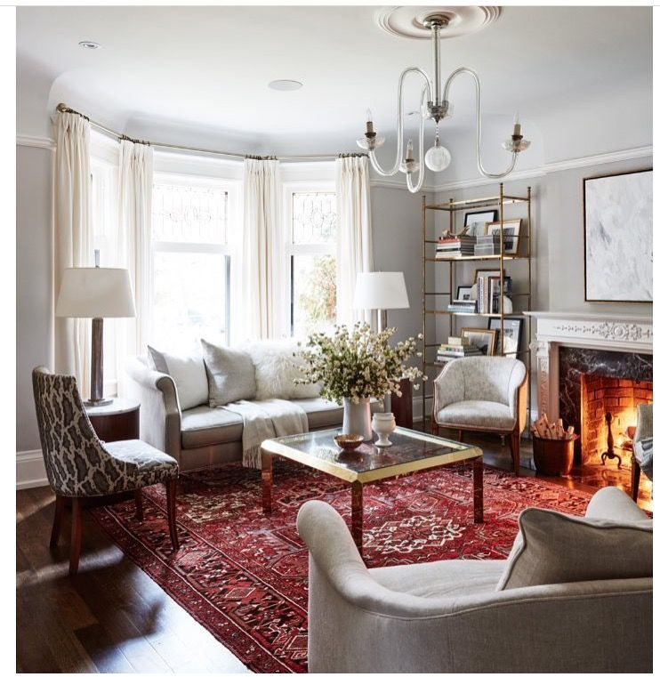 pindanielle potter on my home  red rug living room