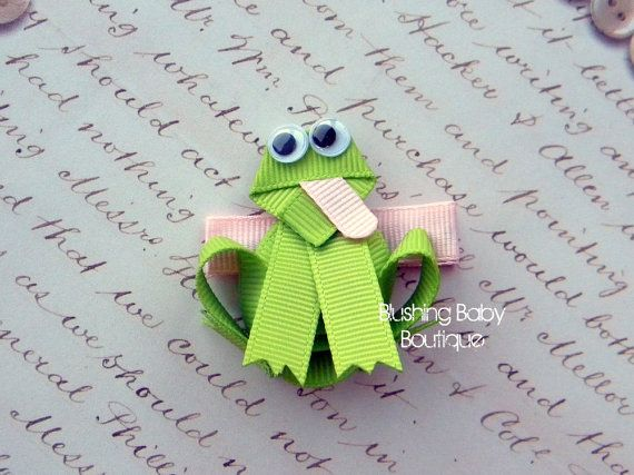 Froggy Hair Clip -- Perfect for Spring-- Birthdays and Baby Showers