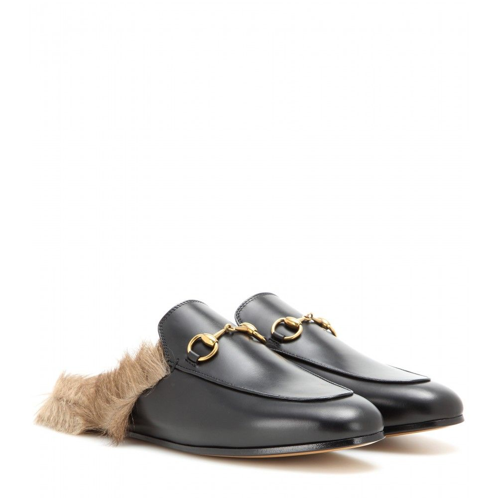Gucci - Fur-lined leather slippers - mytheresa.com