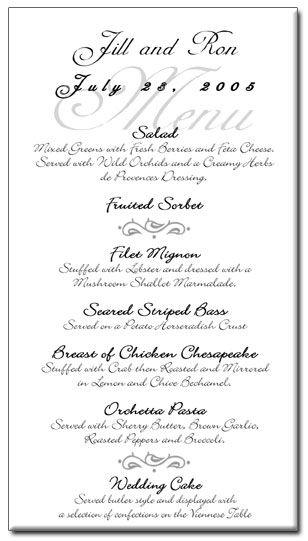 Wedding Program Templates Free  Wedding Menu Card Templates Free