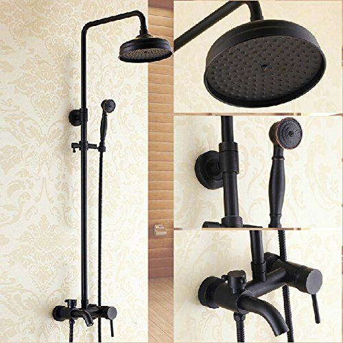 Rozin Bathroom Oil Rubbed Bronze Shower Faucet Set Tub Mixer Tap Shower Fixtures Shower Taps Black Bathroom