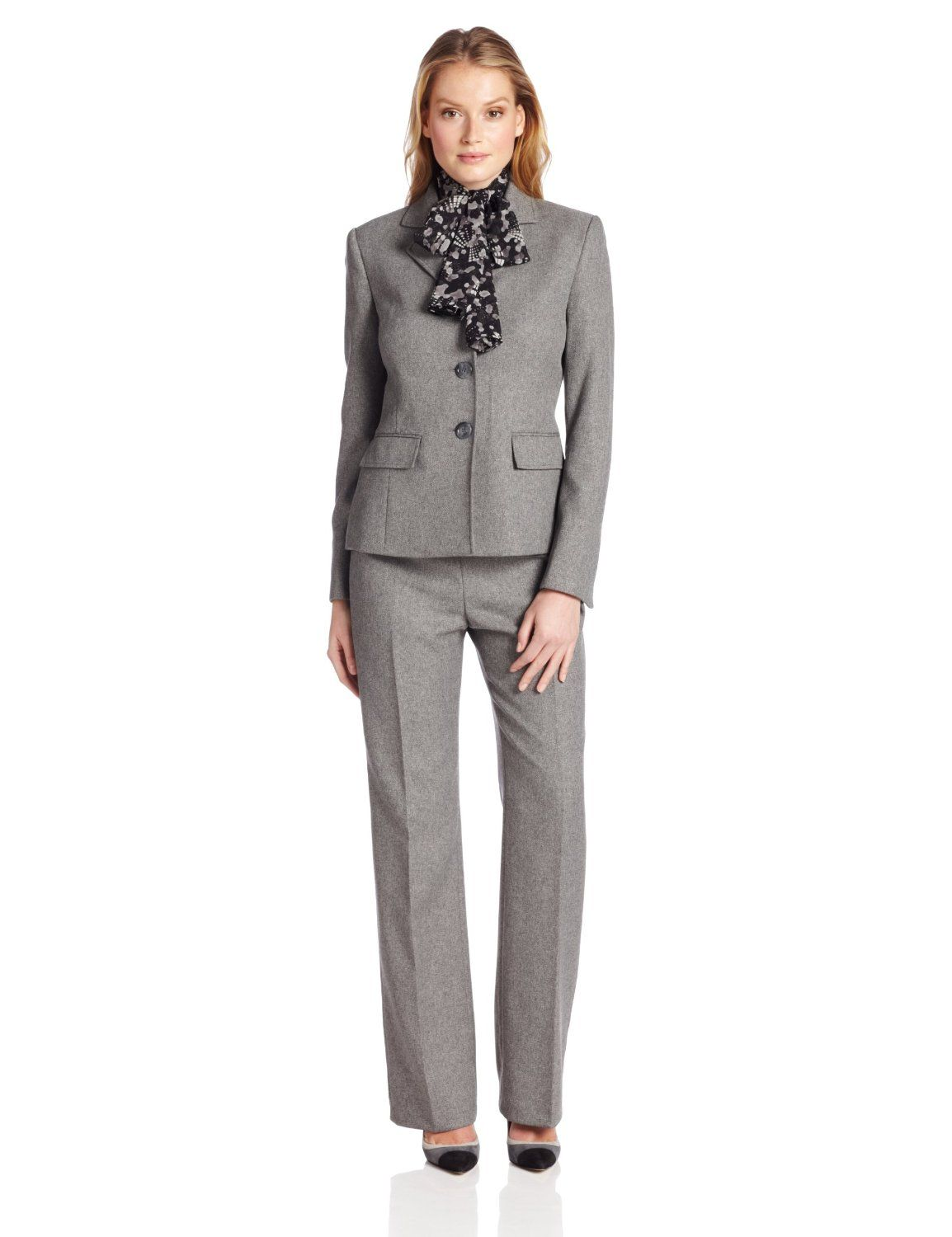 1cbc928f7f4cf Le Suit Women s 3 Button Herringbone Notch Collar Jacket with Pant and  Scarf Suit Set ( 90.00)