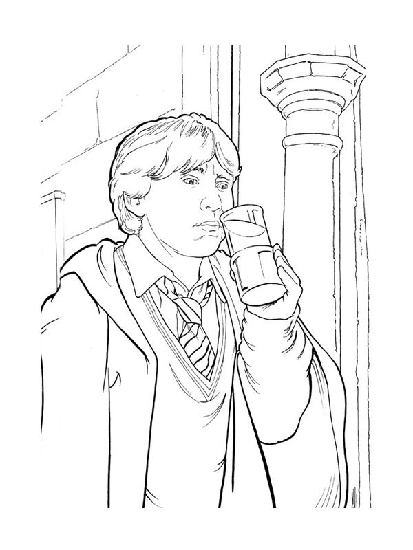 Coloriage ron weasley boit une potion color harry potter coloring pages harry potter 2 - Harry potter dessin ...