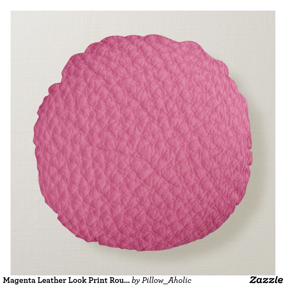 Magenta Leather Look Print Round Pillow | Zazzle.com