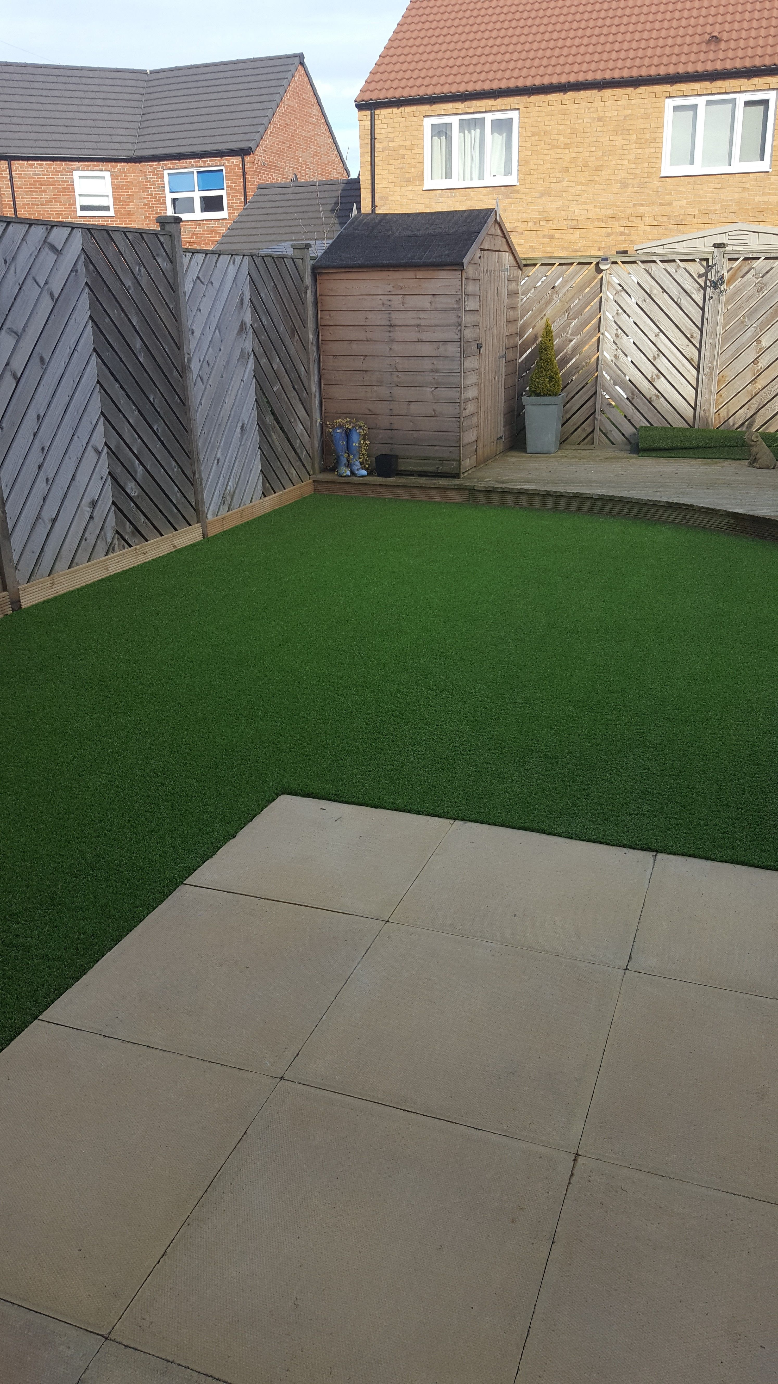 Garden Sheds Rotherham a wonderful artificial grass back garden transformation in