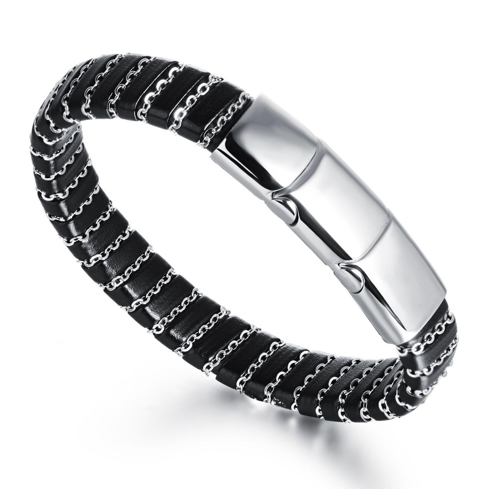Punk rock style alternative o word chain braided leather manus wrist