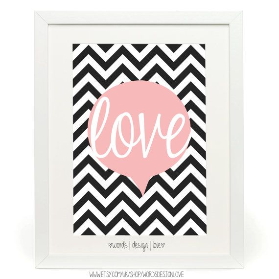 Love  Fashion Poster  Typography  Black And par wordsdesignlove, £10.00