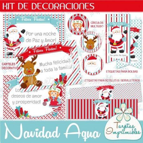 Navidad Aqua Kit de decoraciones   Etiquetas para botellas, Tarjetas ...