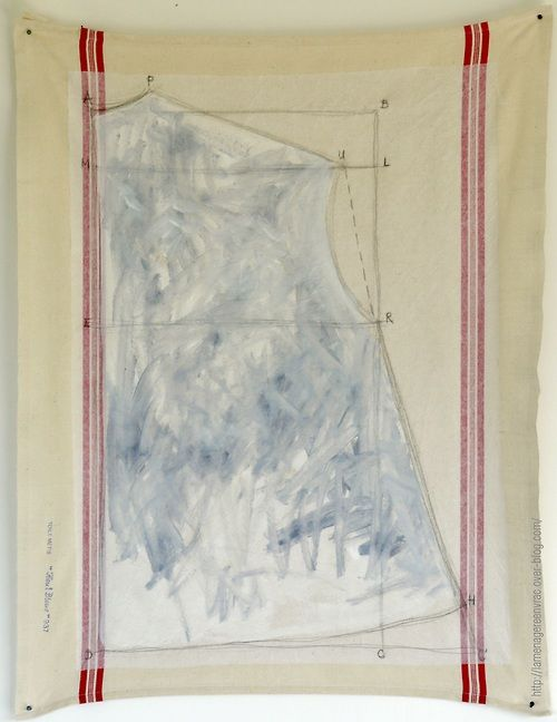 "lamenagereenvrac:  ""pattern""(1)LaMenagereEnVrac huile crayon /papier de soie/torchon (78x60cm) juin2013"