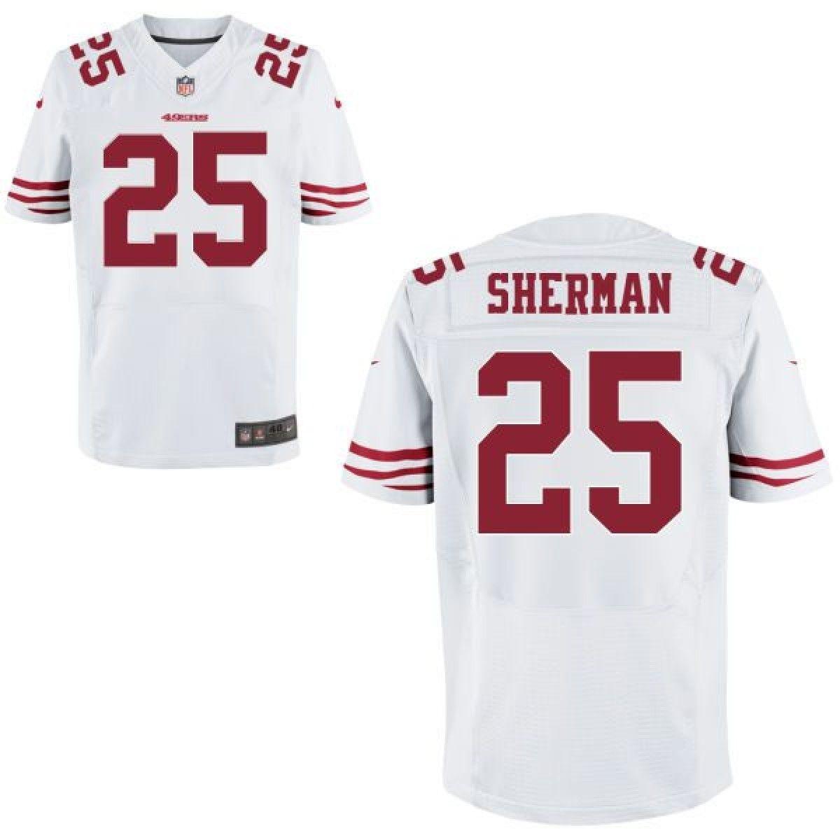 new style 9e250 f04b5 Men's San Francisco 49ers #25 Richard Sherman Elite White ...