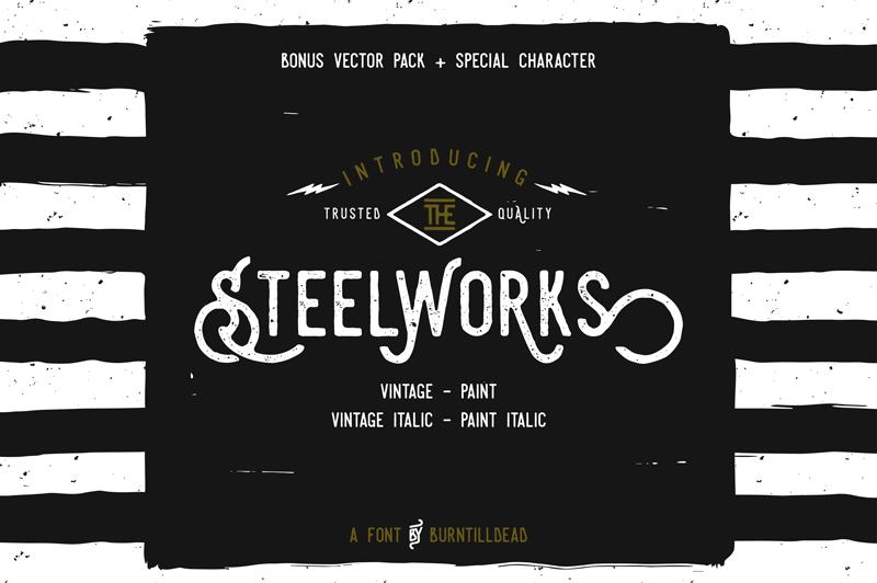 Steelworks Font Dafont Com 1920s Decorative Industrial Hipster Fonts Vintage Fonts Logo Fonts