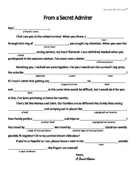 Free Mad Libs Style Worksheet For ValentineS Day  Grammar
