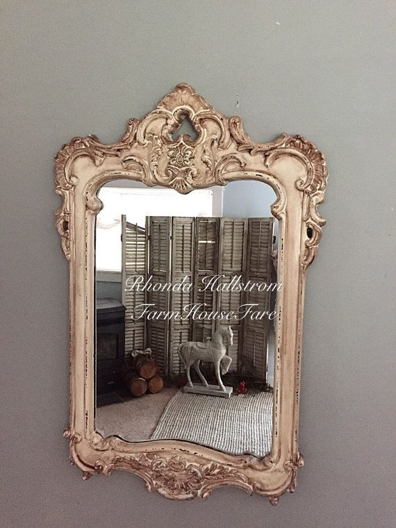 French Wall Hanging Mirror Rustic Distressed Salon Vanity Bathroom Fancy Ornate Baroque Rectangle Shabby Chic Mirrors
