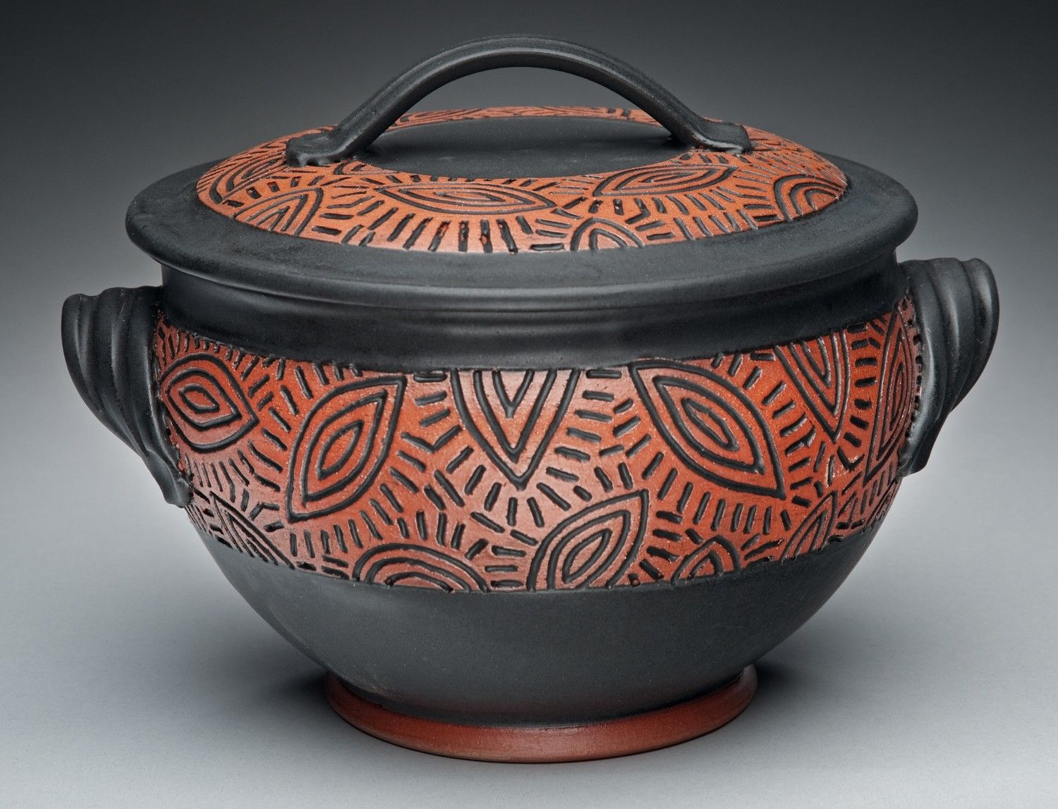 Soup Tureen - Red Earthenware with Black Glaze. $85.00, via Etsy.