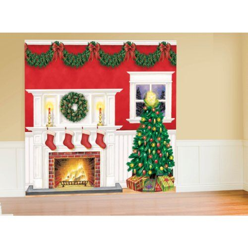 amscan very merry christmas party giant scene setters wal https