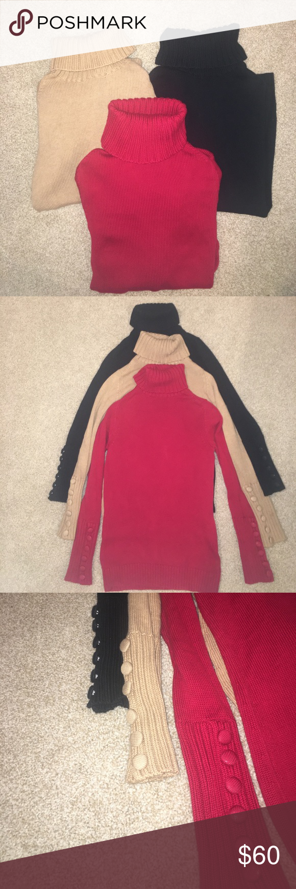 Banana Republic Turtleneck Sweaters Size Small Lot of three turtlenecks, each worn once and in great condition.  No signs of wear.  The bottom of the arms have six buttons on each sides of the sleeves.  There is a small hole in the neck of the brown sweater (bought like this, see pic). Banana Republic Sweaters Cowl & Turtlenecks