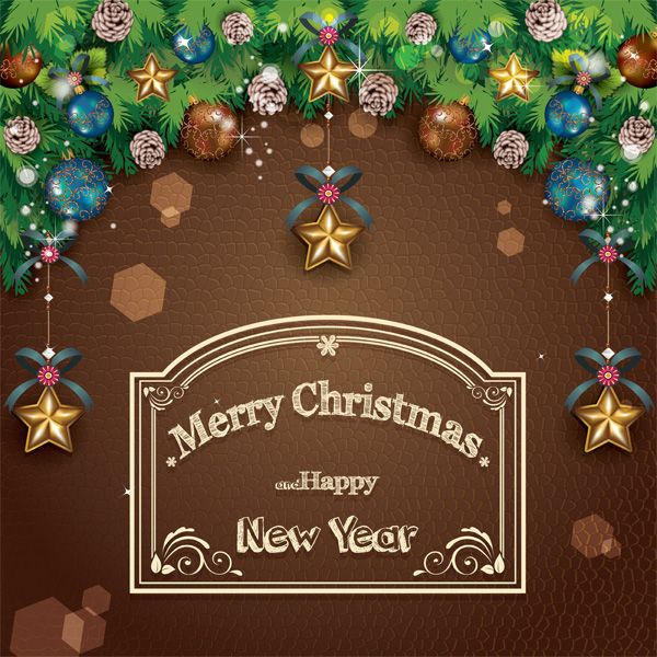 Merry Christmas Decorated Poster Card - http://www.dawnbrushes.com/merry-christmas-decorated-poster-card/