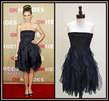 Alice olivia felicity beaded bustier dress navy seen on annalynn mccord in navy Celebrity style fashion boutique